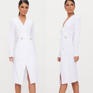 Pretty Little Thing White Button Blazer Midi Dress